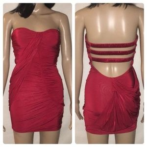 Bebe Sexy Red Strapless Mini Dress Strappy Back